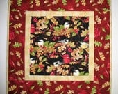 Reserved for Wendy Autumn Table topper Birds, Berries and Leaves, quilted, Fall