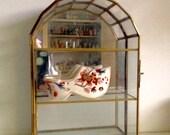 Brass And Glass Jewelry/ Curio Display Case