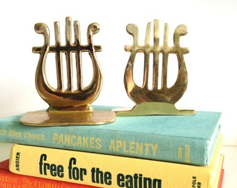Vintage Solid Brass Lyre/Harp Bookends