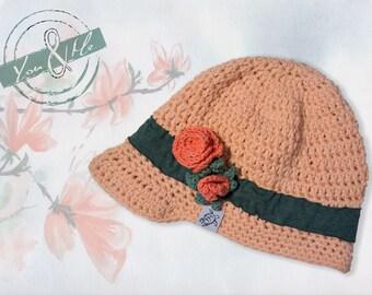 "Summer Cap ""Rosie"",crocheted, rose applique, peach"