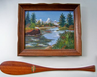 Vintage Oil Painting - Landscape - Mountains - River - Oil on Board - Mid Century - High Country - Camping