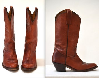 Vintage Frye Cowboy Boots Size 8 1/2  mens 9 9 1/2 women Brown Leather// Vintage Brown Cowboy Boots Size 9 9 1/2 womens size by Frye