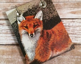 Recycled Notebook - Small Refillable Notepad - Fox - Upcycled Nature Book