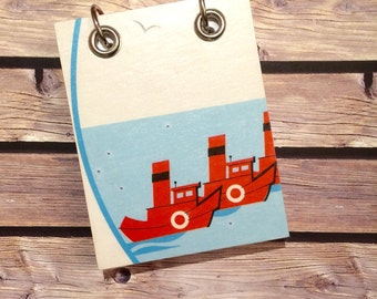 Recycled Notebook - Small Refillable Notepad - Red Boats  - Upcycled Children's Book