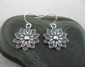Silver Flower Earrings - Simple Everyday Silver Earrings - Boho Bohemian Dangle Drop Earrings