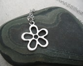 Silver Mod Flower Necklace - Silver Flower Pendant - Simple Everyday Silver Jewelry