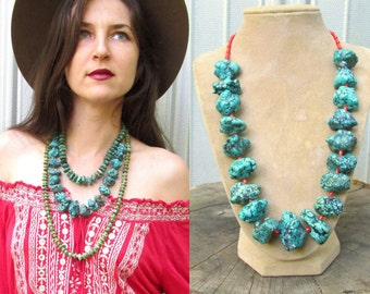 HUGE Natural Turquoise Nugget Bead Necklace with NATURAL Red Mediterranean Coral Beads VINTAGE