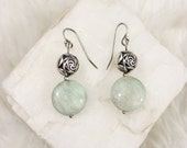 Christmas in July Light Pale Blue Amazonite Gemstone Earrings with 925 Sterling Silver French Wire Hooks