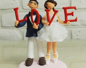 Wedding Cake Topper - Custom Cake Topper - Holding 'L' 'O' 'V' 'E' word together Topper - Funny Cake Topper - Custom Wedding Cake Topper