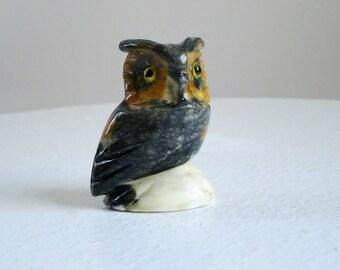 Vintage Alabaster Carved Owl, Mini Carved Owl Figurine, Kawaii Owl, Mini Kitsch Owl Figure, Miniature Stone Owl Figurine