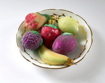 Vintage Mica Mercury Glass Ornaments c. 1950s, Sparkle Glitter Fruit Ornaments, Vintage Sugared Fruit made in Germany, Glass Ornaments