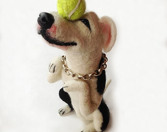 Needle felted Amstaff and Tennis Ball