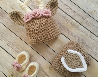 Crochet Newborn baby Deer photo prop set