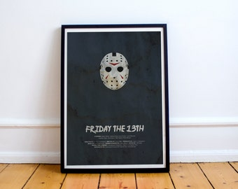 Camp Has Been Terminated // Friday the 13th - Alternate Horror Movie Poster // Water-stain-textured vintage print with killer hockey mask