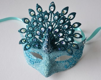MASK- Peacock Flourish- masquerade mask, Mardi Gras,ballroom, fairy, Venetian, Halloween