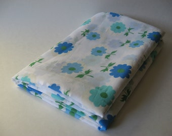 Sheer mid century mod daisy flower vintage fabric 4 yards available aqua blue on white material 60s 70s