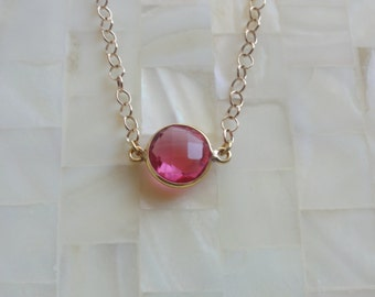 Round Step-Cut Faceted Hot Pink Quartz Vermeil Bezel Connector on Gold Chain Necklace (N1688)