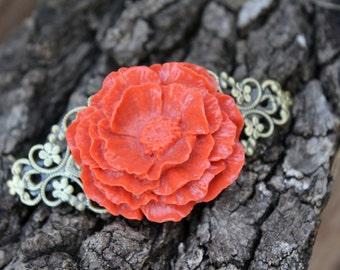 Autumn Cabbage Rose Barrette