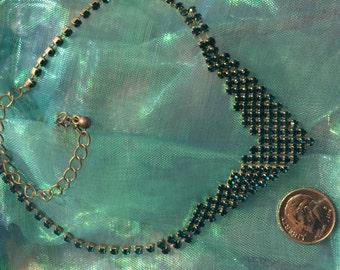 Crystal bib  necklace-green rhinestones no flaws emerald green color