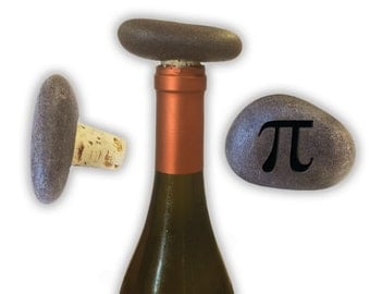 Engraved Symbol Wine Stopper on Natural Stone  - 6951 Pie Sign