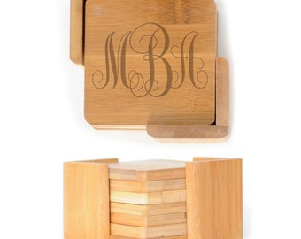Personalized Wooden Square Coasters - Set of 6 with holder - 2635 Interlocking Monogram