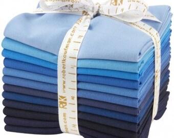 Kona Cotton Solid, Dusk to Dawn palette - fat quarter bundle, 12 pieces - Robert Kaufman