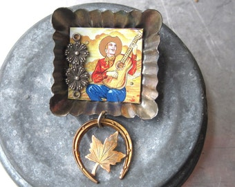 Assemblage Brooch-Lucky, the Cowboy, Tin Brooch-Ready to Ship-Altered Jewelry-Artisan Jewlery