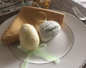 Personalized Easter Eggs. First Name. Easter Basket.  Decorations.  Hand Embroidered. Spring. Pastel Easter gifts. Kids. Place settings.