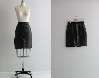 Vintage Black Leather Skirt . 80s 1980s Rocker Skirt . High Wasited Skirt