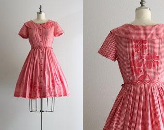Vintage Full Skirt Dress . Red and White Picnic Dress . Emroidered Shirt Dress . 50s Dress