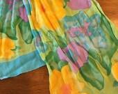 Vintage Spring Floral Oblong Crepe Women's Scarf- spring scarf, ponytail scarf, Spring colors, floral scarf, vintage scarf, pastel scarf