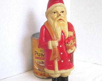 Christmas Santa Decoration Celluloid Candy Container Christmas Ornament Rare Antique 1920s
