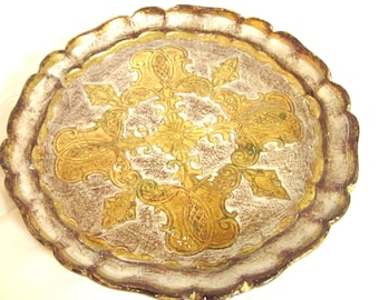 Hollywood Regency Gold Florentine Tray Italian Round Wooden Tray