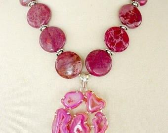 Chunky Statement Necklace, Drusy Pendant Necklace, Big Bold Necklace, Wine Red Gemstone Necklace, Semiprecious Stone Necklace, Fuchsia