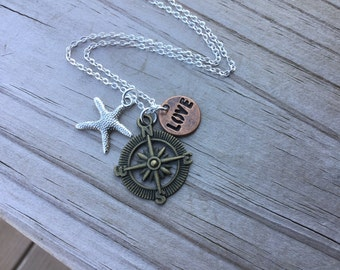 Nautical Mixed Metals Charm Necklace- Compass, Starfish, LOVE - with your choice of chain