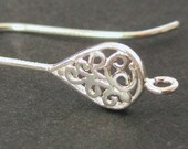 Sterling Silver Earwires - Contemporary Filigree Teardrop Shape  - French Hook Earr Wires  - 1 Pair - E31