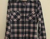 1950's Pendelton Black /red /white plaid wool Men's Shirt Size L