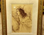 Julia Signed  Print in an 11x14 Decorative Gold Frame