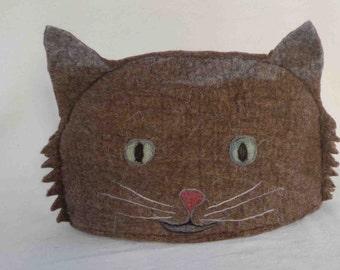 Brown Cat Tea Cosy in Pure Shetland wool felt hand made