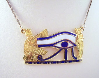 Vintage Eye of Horus Sterling and enamel necklace