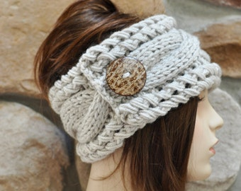 Earwarmer Cabled Ear Warmer Winter Crochet Headband Chunky Ear warmer CHOOSE COLOR Linen Beige Natural Warm Hair Band Christmas Gift