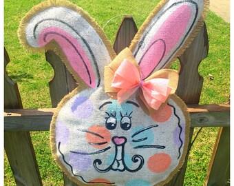 Easter Bunny Spring Burlap Door Hanger