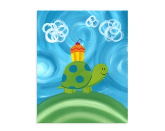 Cupcake Turtle ~ Colorful Whimsical Woodland Artwork