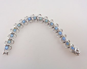 Vintage Signed Coro Blue Rhinestone Silver Rhodium Plated Link Bracelet