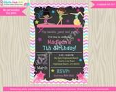 Gymnastics Birthday Invitation Invite, gymnastics invitation tumbling cartwheels pink purple chevron rainbow printable diy digital