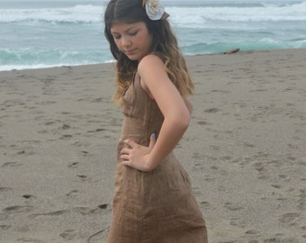 Birdie - Junior Dress, vintage, Cutout Dress, Backless, Low Back, Linen Dress, Stringed Neckline, Tank, French Brown Dress