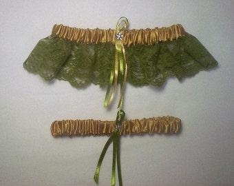 Gold Satin / Sage Green Lace - 2 Piece Wedding Garter Set - 1 To Keep / 1 To Throw