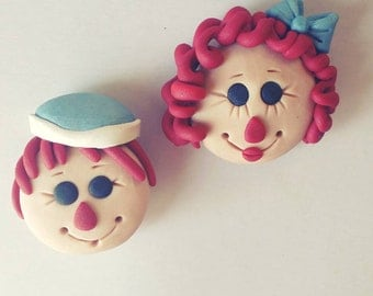 Raggedy Ann Christmas Ornament Andy Magnet , Cake Topper, Cupcake Topper, Party Favor or Ornament  Personalized Custom Handmade Keepsake