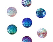 Mermaid Scale Cabochons 12mm Assorted Round Cabochons Dragon Scale Cabochons Flat Back Embellishments 6 pieces