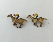 Horse Racing Scatter Pins,  Enamel Horse and Jockey, Matching Set of 2, Equestrian, Vintage Jewelry Brooches